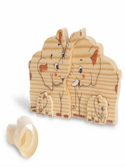 BIG FAMILY SOLID WOOD  ELEPHANTS (4 PCS)