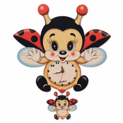 Bartolucci Clock Moving eyes w. Pend. FLYING LADYBIRD