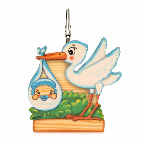 Bartolucci Clip Picture Holder Blue Stork