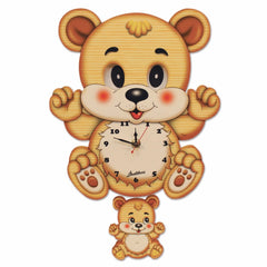 Bartolucci CLOCK MOV. EYES w.PEND BEAR
