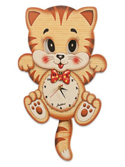 Bartolucci  Clock Moving eyes w. CAT WITH BIG HEAD