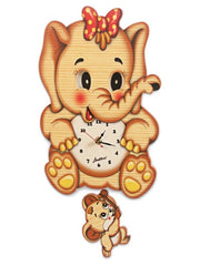 Bartolucci Clock Moving eyes w. Pend. Elephant