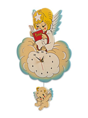 Bartolucci Clock Fairytale Blue Angel std
