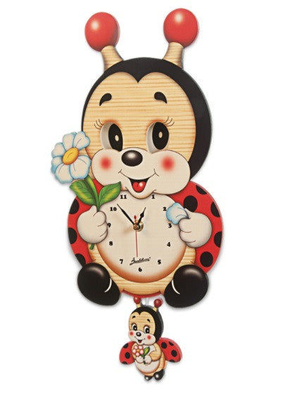 Bartolucci  Clock Moving eyes w. Pend  Ladybird a
