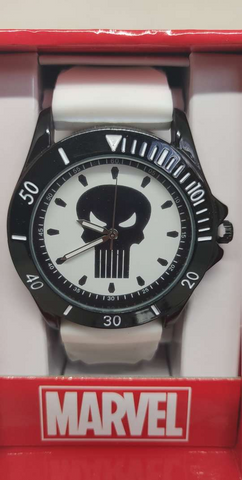 Punisher Black Logo Dial White Rubber Strap Watch
