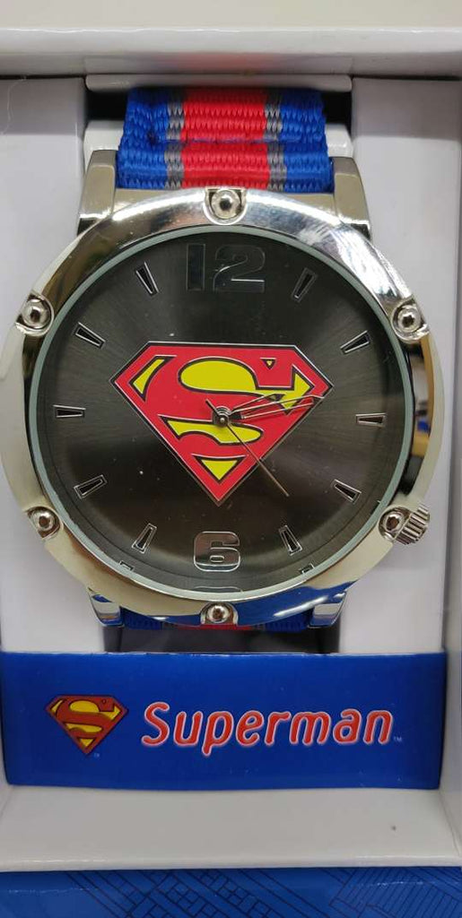 Superman Symbol Dial Grosgrain Striped Strap Watch