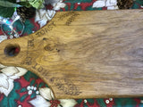 Engraved Solid Oak Bread Board.