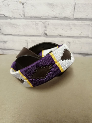 Polo Belt - Purple, Pale Blue, Gold stripe.