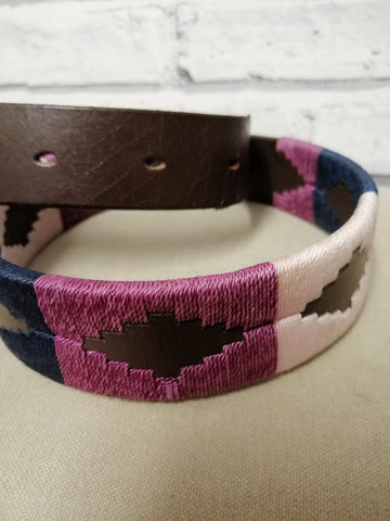 Polo Belt- Berry, Pale Pink and navy