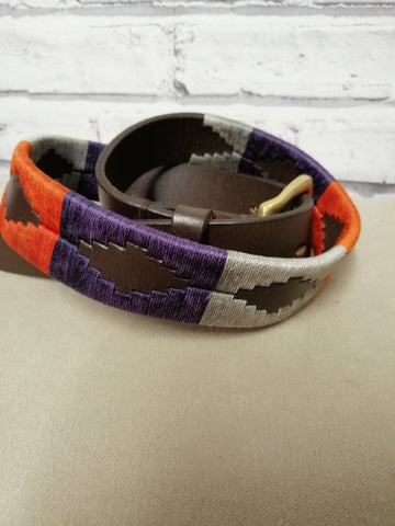 Polo Belt Silver, orange and Purple