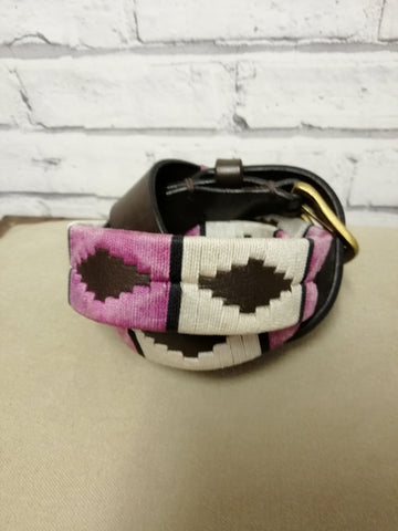 Polo Belt Cream, Pink, black stripe