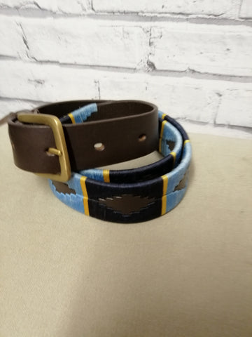 Polo Belt- Navy, Pale Blue with yellow stripe(Harper )