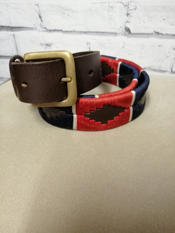 Polo Belt - Red,Blue with White stripe