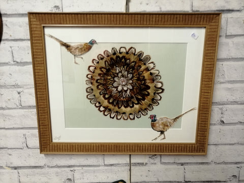 "Pheasant Feather Artwork Framed ""Nice Brace"""