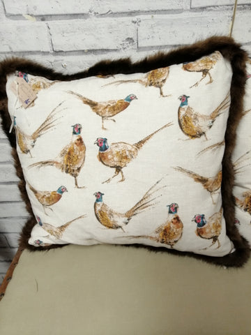 Pheasant Print Cushion with up - Cycled Real Fur.