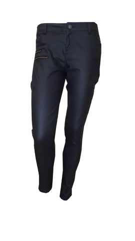 Collier Bristow coated black skinny jeans<br>unit price £2.95