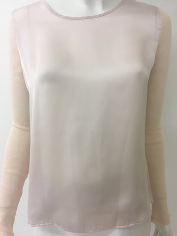 C&A Pink Knitted Sleeve Satin Body Top <br> new price £2.00