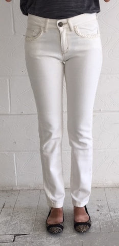 EX M & S CREAM JEAN WITH ROPE DETAIL AROUND POCKETS  <br>NEW PRICE £3.25