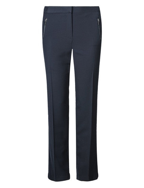Navy straight leg trouser with zip pockets <br> unit price £4.50