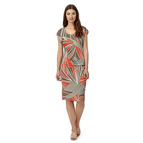 Abstract printed jersey dress with drape detail <br> unit price £4.50