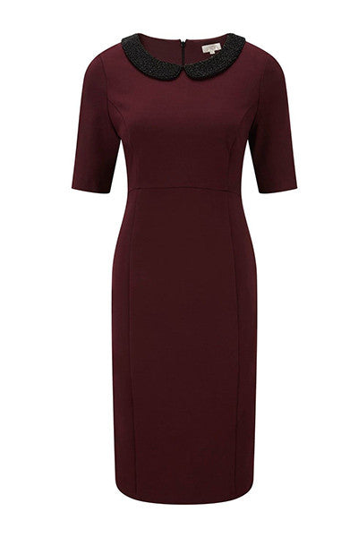 Berry shift dress with bead detailing collar <br> unit price £8.00