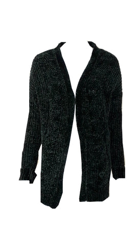 Green chenille edge to edge cardi <br> unit price £3.25