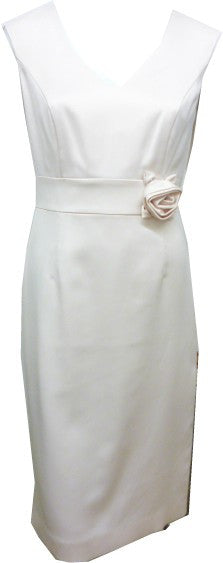Cream shift dress with flower applique on waist <br> unit price £11.95