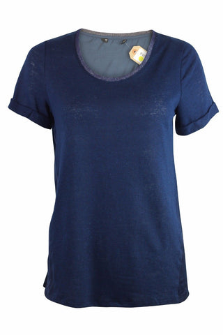 Dunnes Navy Linen T-shirt <br> new price £2.25