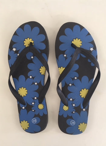 Flower flip flops <br> unit price £1.50