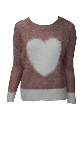 Soft knit pink and cream heart jumper <br>unit price £2.50