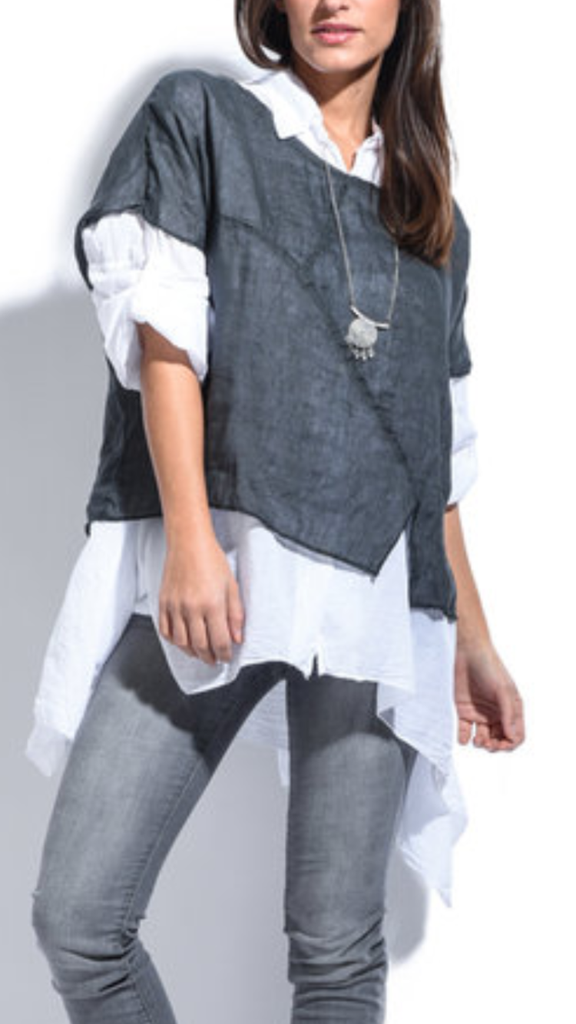 Italian linen/cotton layered top <br> unit price £9.95