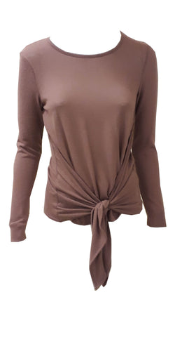 Long sleeve jersey top with tie front <br> unit price £2.25