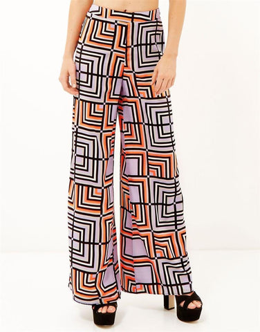 ex River Island Geometric print Wide leg palazzo trouser <br> unit price £4.25