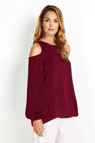 ex Wallis Burgundy Cold Shoulder Top <br> NEW price £3.50