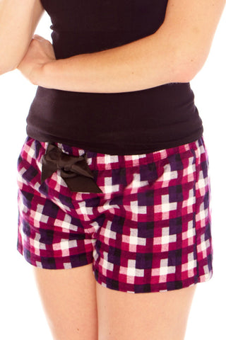 2 Sexy Flannel Short with Drawstring Lounge - Lingerie Basement