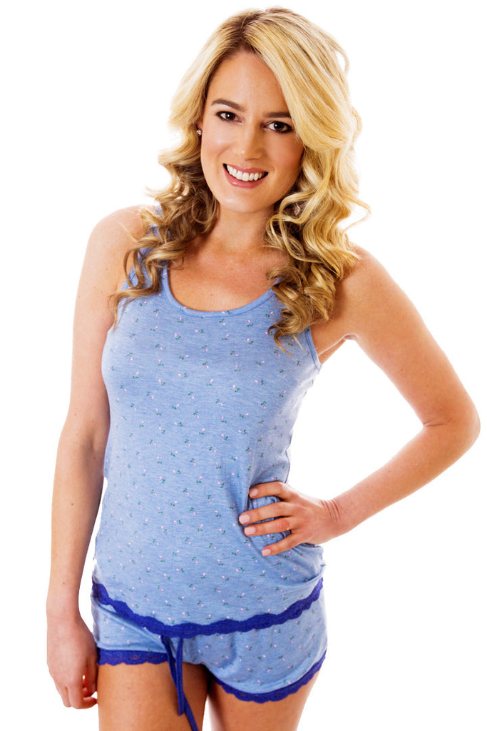 Soft & Comfy, Blue Short Set with Lace Racerback Pajama - Lingerie Basement