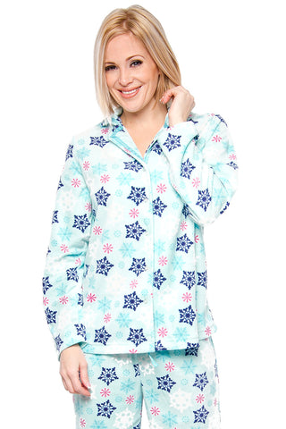 Flannel Snowflake Print Pajama Lounge - Lingerie Basement