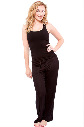 Black Long Lounge Pant pictured with Black Tank Pajama - Lingerie Basement