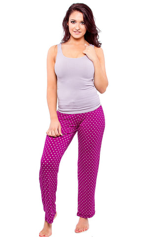 Fuschia Lounge Pants with Polka Dots Pajama - Lingerie Basement
