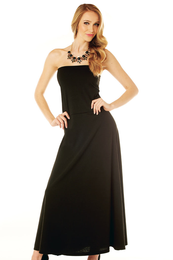 Long Black Maxi-Dress that converts to Maxi Skirt Dresses - Lingerie Basement