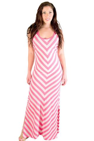 Pink Striped Maxi Dress Dresses - Lingerie Basement