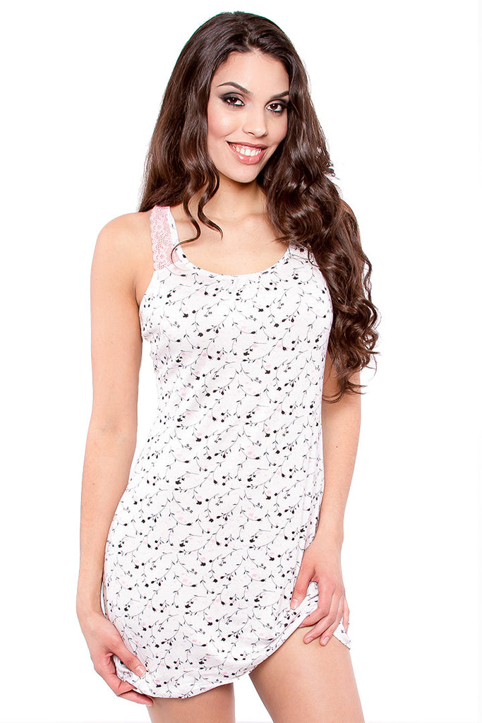 White Chemise with Floral Print, Racerback and Lace Panels Lingerie - Lingerie Basement