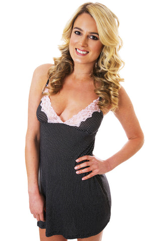 Black Soft-Stretch Chemise with Deep Lace V-Neck Lingerie - Lingerie Basement