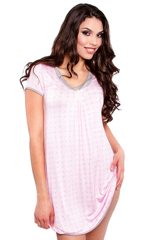 Soft & Comfy Short Sleeve Pink Sleep Shirt Nightshirt - Lingerie Basement
