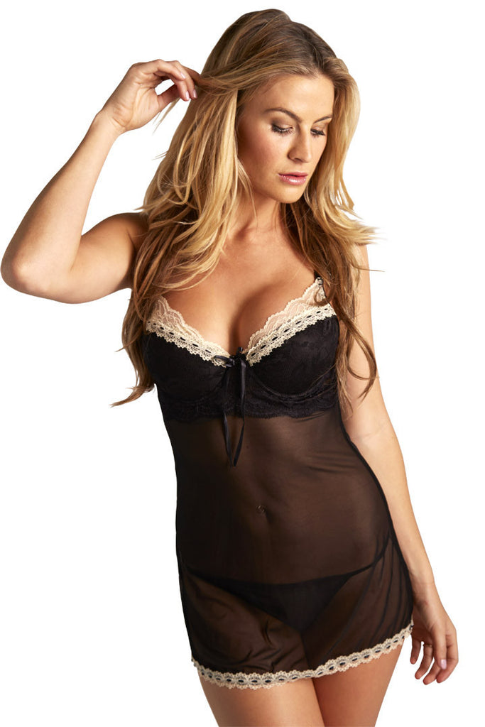 Black Sheer Underwire Chemise - Chantilly Lace Lingerie - Lingerie Basement