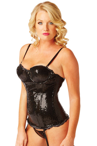 Black Sequin Soiree Corset Lingerie - Lingerie Basement