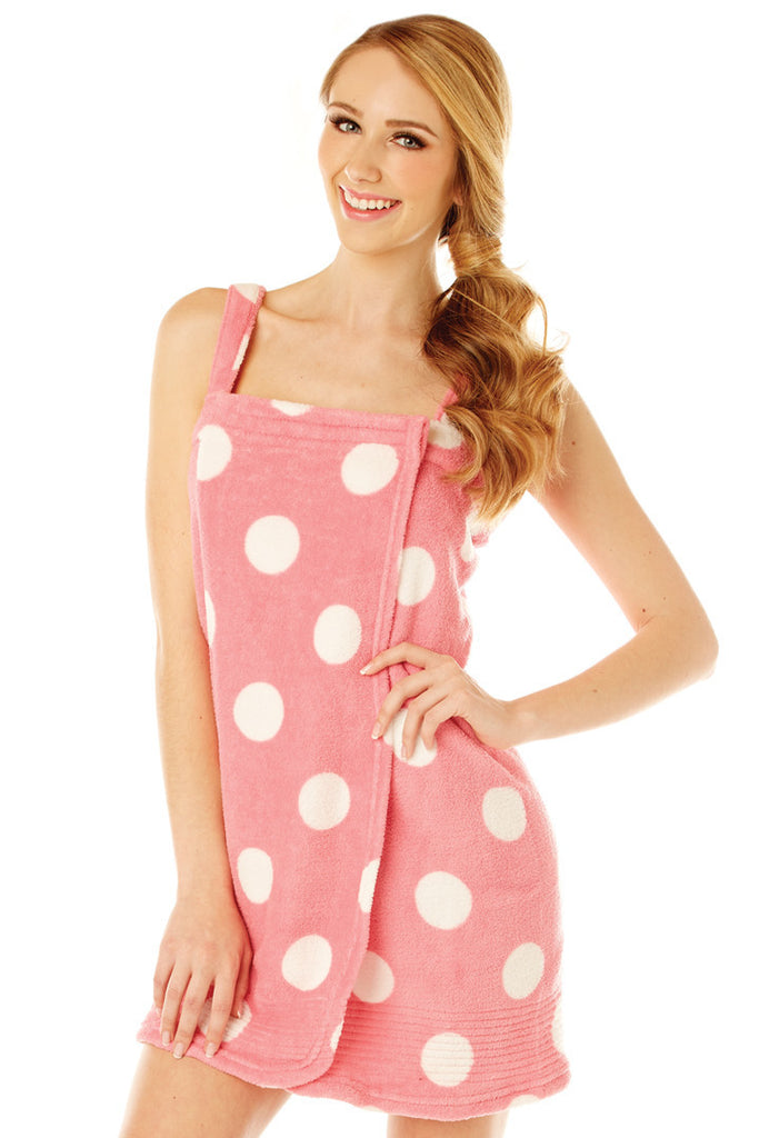 Plush Pink Spa Wrap with Polka Dots Robe - Lingerie Basement