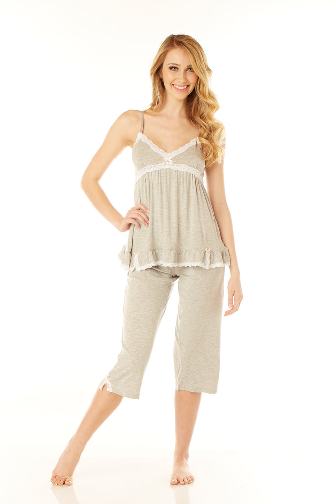 Gray Two Piece Capri Set with Ruffles and Lace Lounge - Lingerie Basement