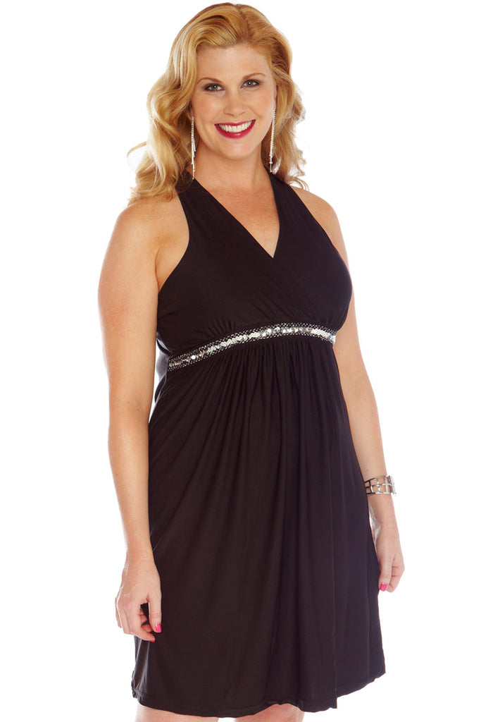 After 5 Halter Dress w/ Built-in Bra & Faux Jewel Detail Dresses - Lingerie Basement