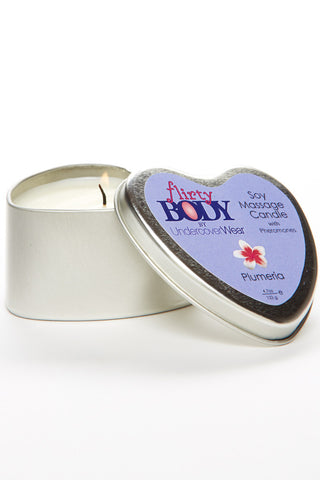 Flirty BODY Soy Massage Heart Candle - Floral Scent Spa Products - Lingerie Basement